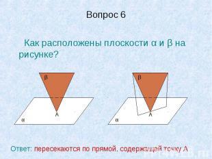 Вопрос 6 Как расположены плоскости α и β на рисунке?Ответ: пересекаются по прямо