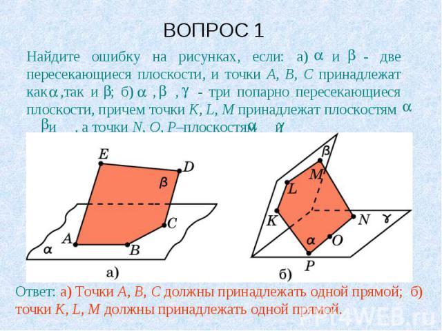 ВОПРОС 1 Найдите ошибку на рисунках, если: а) и - две пересекающиеся плоскости, и точки A, B, C принадлежат как ,так и ; б) , , - три попарно пересекающиеся плоскости, причем точки K, L, M принадлежат плоскостям и , а точки N, O, P–плоскостям и .Отв…