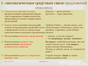 Ксинтаксическим средствам связипредложений относятся: