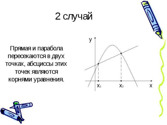 2 случай Прямая и парабола пересекаются в двух точках, абсциссы этих точек являются корнями уравнения.