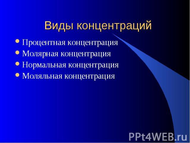 Виды концентраций Процентная концентрацияМолярная концентрацияНормальная концентрацияМоляльная концентрация