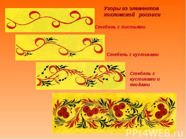 Узоры из элементов хохломской росписи Стебель с листьямиСтебель с кустикамиСтебель с кустиками и ягодами