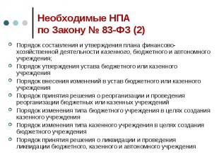 Необходимые НПА по Закону № 83-ФЗ (2) Порядок составления и утверждения плана фи