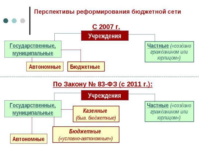 Перспективы реформирования бюджетной сети