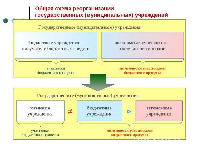 Общая схема реорганизациигосударственных (муниципальных) учреждений