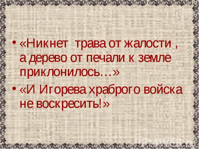 «Никнет трава от жалости , а дерево от печали к земле приклонилось…»«И Игорева храброго войска не воскресить!»