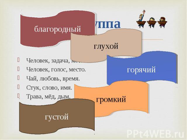 2 группа Человек, задача, металл. Человек, голос, место. Чай, любовь, время. Стук, слово, имя. Трава, мёд, дым.