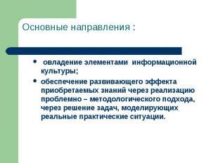 Основные направления : овладение элементами информационной культуры;обеспечение
