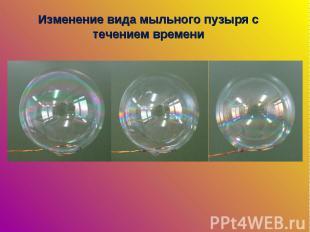 Изменение вида мыльного пузыря с течением времени