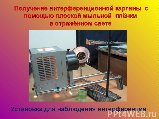 Получение интерференционной картины с помощью плоской мыльной плёнки в отражённом свете Установка для наблюдения интерференции