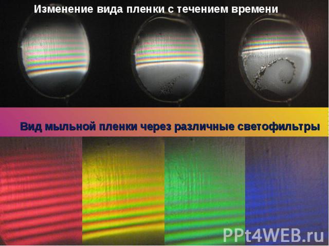 Изменение вида пленки с течением времениВид мыльной пленки через различные светофильтры