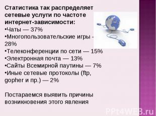 Статистика так распределяет сетевые услуги по частоте интернет-зависимости:Чаты
