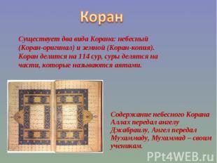 Коран Существует два вида Корана: небесный (Коран-оригинал) и земной (Коран-копи