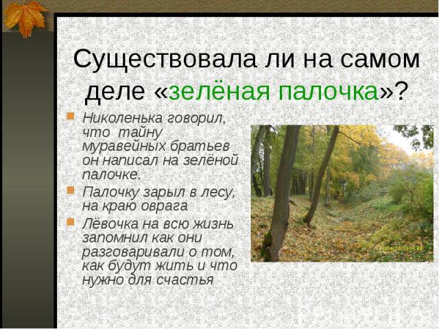 Существовала ли на самом деле «зелёная палочка»? Николенька говорил, что тайну муравейных братьев он написал на зелёной палочке.Палочку зарыл в лесу, на краю оврагаЛёвочка на всю жизнь запомнил как они разговаривали о том, как будут жить и что нужно…