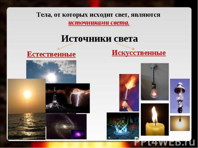 Тела, от которых исходит свет, являются источниками света. Источники светаЕстественные Искусственные