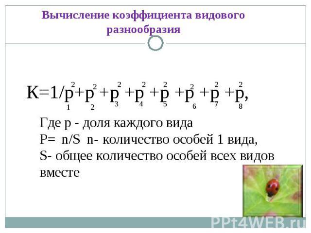 Вычисление коэффициента видового разнообразияК=1/р+р +р +р +р +р +р +р, Где р - доля каждого видаР= n/S n- количество особей 1 вида,S- общее количество особей всех видов вместе