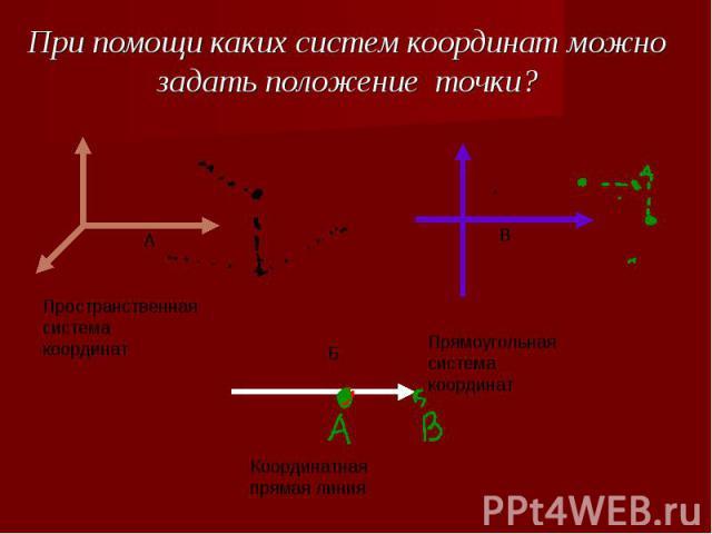 При помощи каких систем координат можно задать положение точки? Пространственная система координатПрямоугольная система координатКоординатная прямая линия
