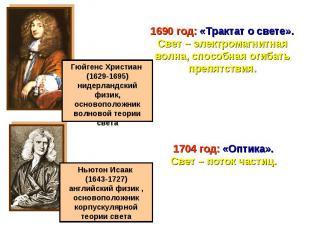 1690 год: «Трактат о свете».Свет – электромагнитная волна, способная огибать пре