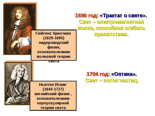 1690 год: «Трактат о свете».Свет – электромагнитная волна, способная огибать препятствия.1704 год: «Оптика».Свет – поток частиц.Гюйгенс Христиан (1629-1695)нидерландский физик,основоположник волновой теории светаНьютон Исаак (1643-1727)английский фи…