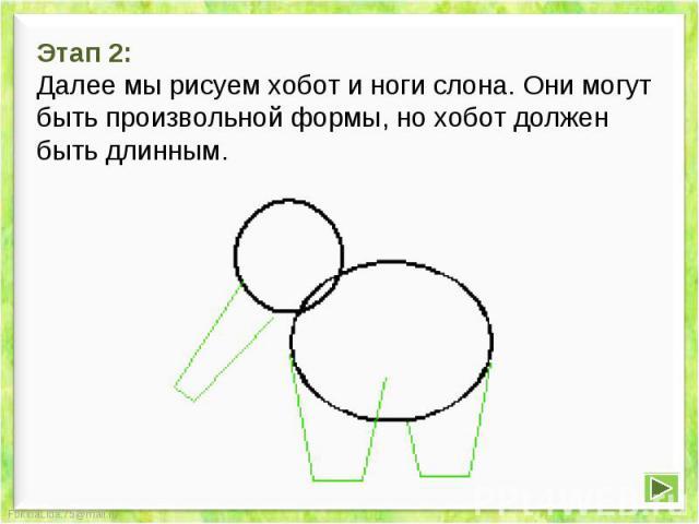 Этап 2: Далее мы рисуем хобот и ноги слона. Они могут быть произвольной формы, но хобот должен быть длинным.