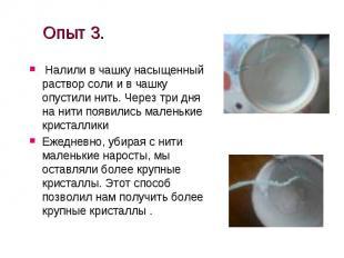 Опыт 3. Налили в чашку насыщенный раствор соли и в чашку опустили нить. Через тр