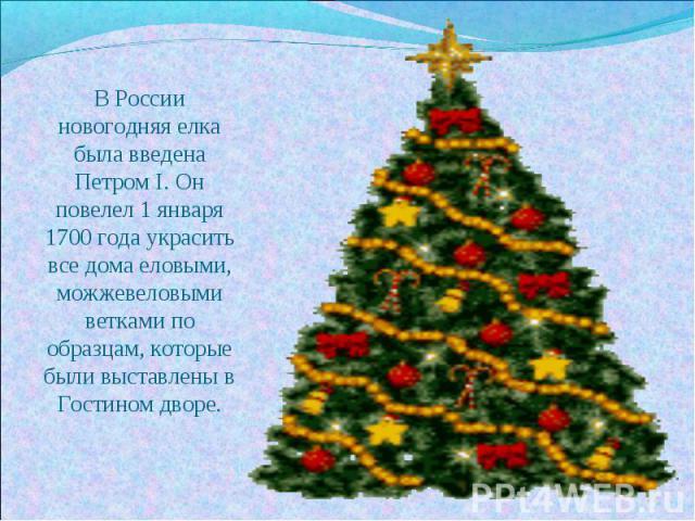 В России новогодняя елка была введена Петром I. Он повелел 1 января 1700 года украсить все дома еловыми, можжевеловыми ветками по образцам, которые были выставлены в Гостином дворе.