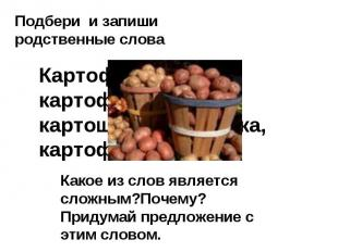 Подбери и запиши родственные слова Картофель, картофельный, картошка,картошечка,