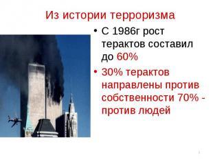 Из истории терроризма С 1986г рост терактов составил до 60%30% терактов направле