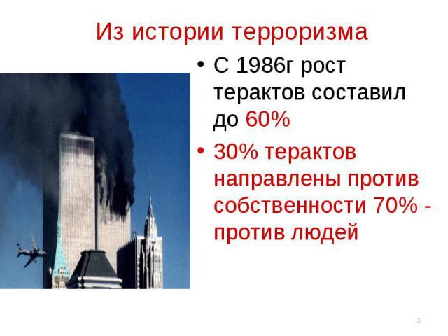 Из истории терроризма С 1986г рост терактов составил до 60%30% терактов направлены против собственности 70% - против людей