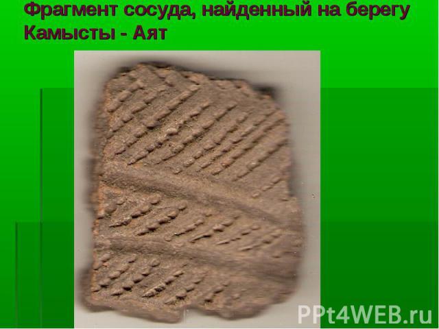 Фрагмент сосуда, найденный на берегу Камысты - Аят
