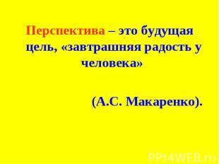 Перспектива – это будущая цель, «завтрашняя радость у человека» (А.С. Макаренко)
