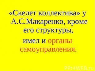 «Скелет коллектива» у А.С.Макаренко, кроме его структуры, имел и органы самоупра