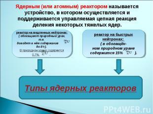 Ядерным (или атомным) реактором называется устройство, в котором осуществляется