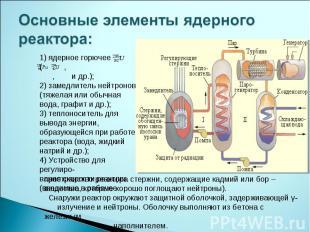 Основные элементы ядерного реактора: 1) ядерное горючее ( , , и др.);2) замедлит