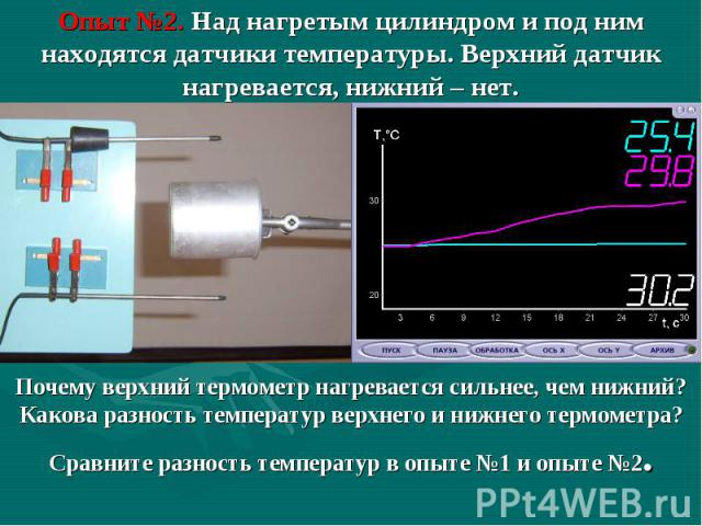 Опыт №2. Над нагретым цилиндром и под ним находятся датчики температуры. Верхний датчик нагревается, нижний – нет. Почему верхний термометр нагревается сильнее, чем нижний?Какова разность температур верхнего и нижнего термометра?Сравните разность те…