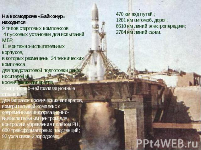 На космодроме «Байконур» находится 9 типов стартовых комплексов 4 пусковых установки для испытаний МБР; 11 монтажно-испытательных корпусов, в которых размещены 34 технических комплекса для предстартовой подготовки ракет-носителей и космических аппар…