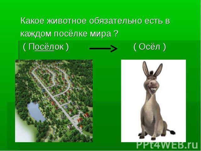 Какое животное обязательно есть в каждом посёлке мира ? ( Посёлок ) ( Осёл )