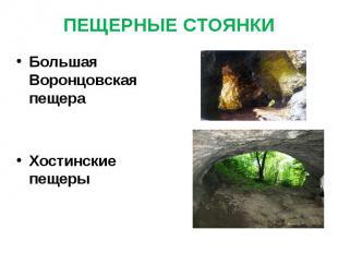 ПЕЩЕРНЫЕ СТОЯНКИ Большая Воронцовская пещераХостинские пещеры