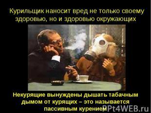Курильщик наносит вред не только своему здоровью, но и здоровью окружающих Некур