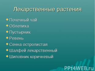Лекарственные растенияПочечный чайОблепихаПустырникРевеньСенна остролистаяШалфей