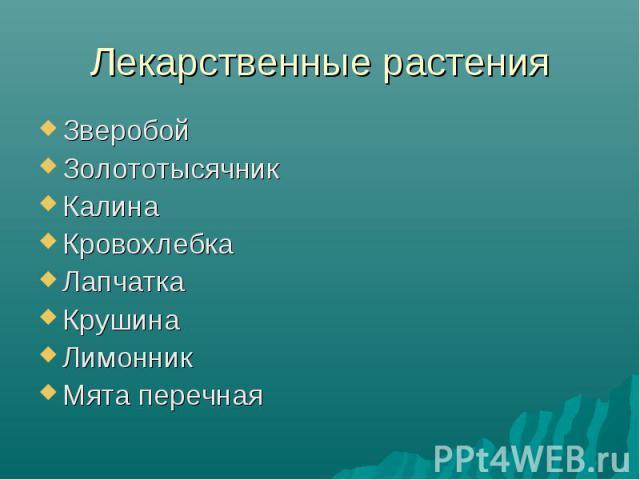 Лекарственные растенияЗверобойЗолототысячникКалинаКровохлебкаЛапчаткаКрушинаЛимонникМята перечная