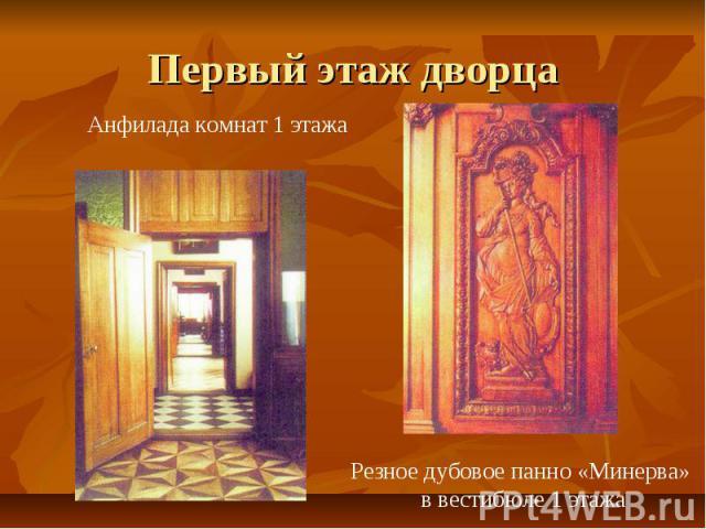 Первый этаж дворца Анфилада комнат 1 этажаРезное дубовое панно «Минерва» в вестибюле 1 этажа