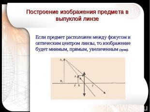 Построение изображения предмета в выпуклой линзе Если предмет расположен между ф
