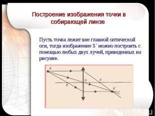 Построение изображения точки в собирающей линзе Пусть точка лежит вне главной оп