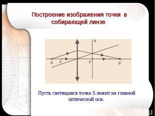 Построение изображения точки в собирающей линзе Пусть светящаяся точка S лежит н