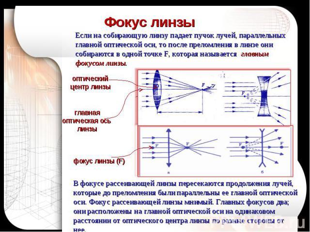 Фокус линзы Если на собирающую линзу падает пучок лучей, параллельных главной оптической оси, то после преломления в линзе они собираются в одной точке F, которая называется главным фокусом линзы.В фокусе рассеивающей линзы пересекаются продолжения …