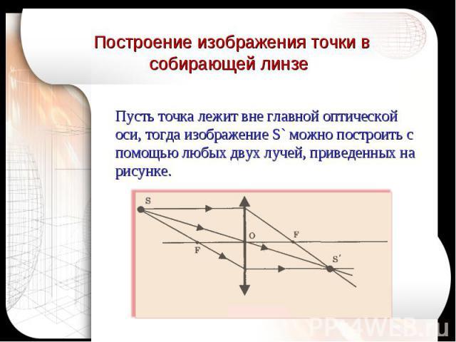 Построение изображения точки в собирающей линзе Пусть точка лежит вне главной оптической оси, тогда изображение S` можно построить с помощью любых двух лучей, приведенных на рисунке.