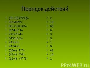 Порядок действий (36-18):(72:8)=35:5+6*2=68+2-50+43=12*4+3*1=7+12*0-4=34*0+8-5=2