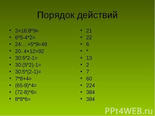 Порядок действий 3+16:8*9=6*5-4*2=24:…+5*9=4920..4+12=9230:5*2-1=30:(5*2)-1=30:5*(2-1)=7*8+4=(65-9)*4=(72-8)*6=8*8*6=21226*132760224384384