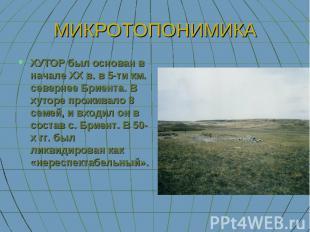 МИКРОТОПОНИМИКА ХУТОР был основан в начале XX в. в 5-ти км. севернее Бриента. В